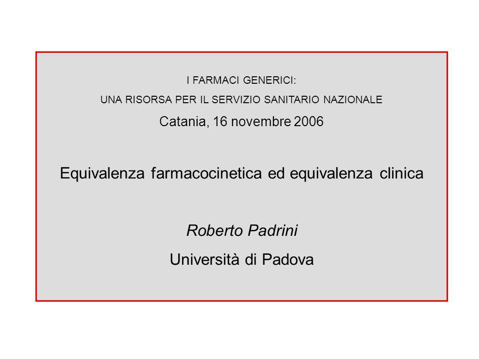 I FARMACI GENERICI: UNA RISORSA PER IL SERVIZIO SANITARIO NAZIONALE Catania, 16 novembre 2006 Equivalenza farmacocinetica ed equivalenza clinica Rober