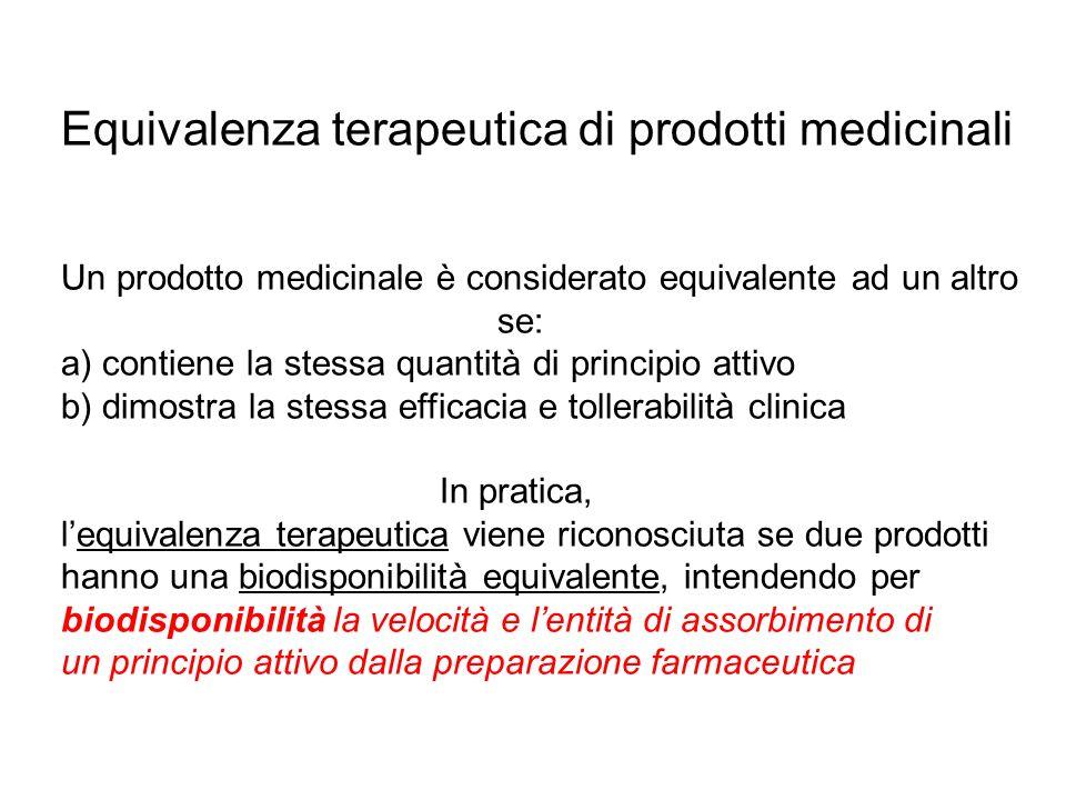 Equivalenza terapeutica di prodotti medicinali Un prodotto medicinale è considerato equivalente ad un altro se: a) contiene la stessa quantità di prin