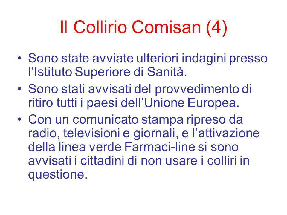 Il Collirio Comisan (4) Sono state avviate ulteriori indagini presso lIstituto Superiore di Sanità.
