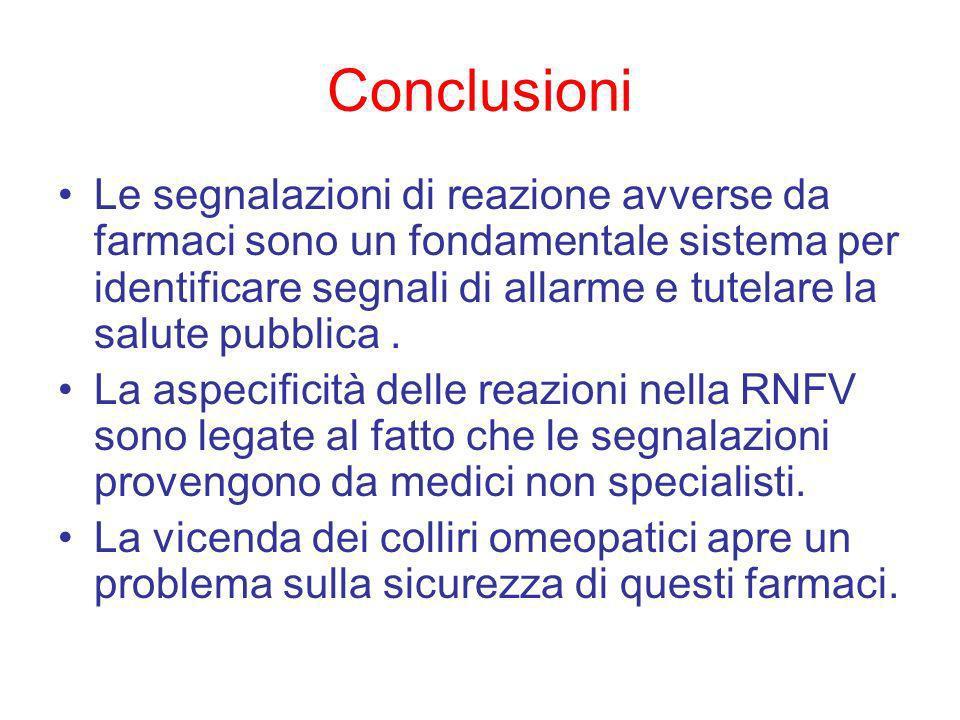 Conclusioni Le segnalazioni di reazione avverse da farmaci sono un fondamentale sistema per identificare segnali di allarme e tutelare la salute pubblica.