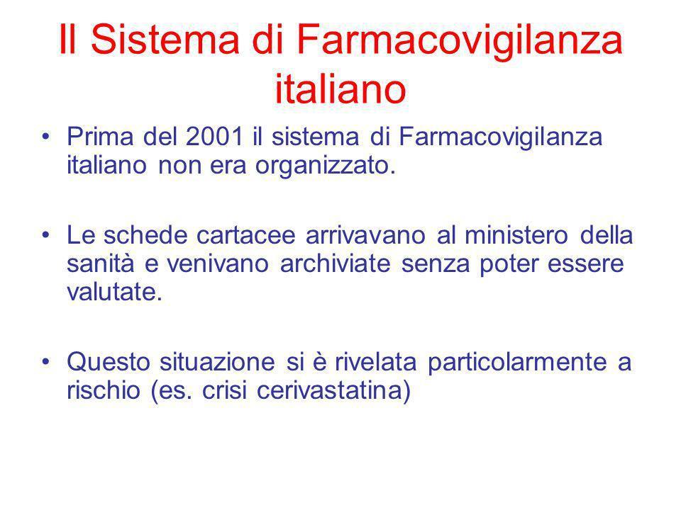Il Sistema di Farmacovigilanza italiano Prima del 2001 il sistema di Farmacovigilanza italiano non era organizzato.