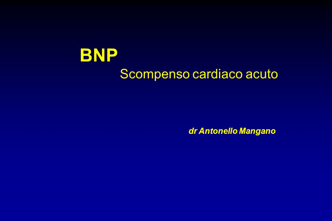 BNP (b-type natriuretic peptide) l Isolato inizialmente dal tessuto cerebrale del maiale l Ormone proteico cardiaco sintetizzato dalle cellule muscolari del miocardio in risposta allo stiramento l Polipeptide di 32 aminoacidi l Struttura circolare di 17 aminoacidi (dal 10 al 26)