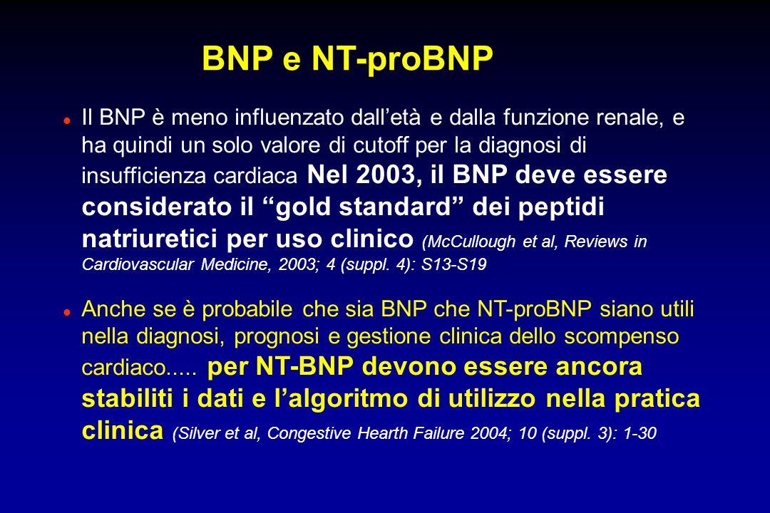 BNP e NT-proBNP l Il BNP è meno influenzato dalletà e dalla funzione renale, e ha quindi un solo valore di cutoff per la diagnosi di insufficienza car