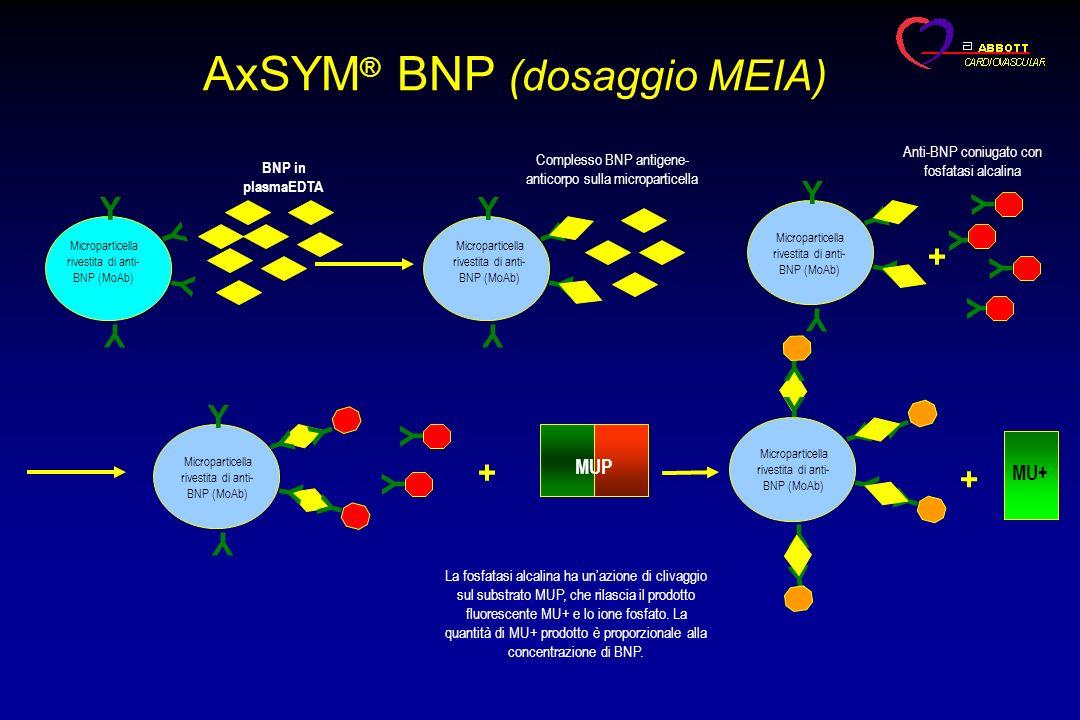 AxSYM ® BNP (dosaggio MEIA) Y Y Y Y Microparticella rivestita di anti- BNP (MoAb) BNP in plasmaEDTA Y Y Y Y Complesso BNP antigene- anticorpo sulla mi