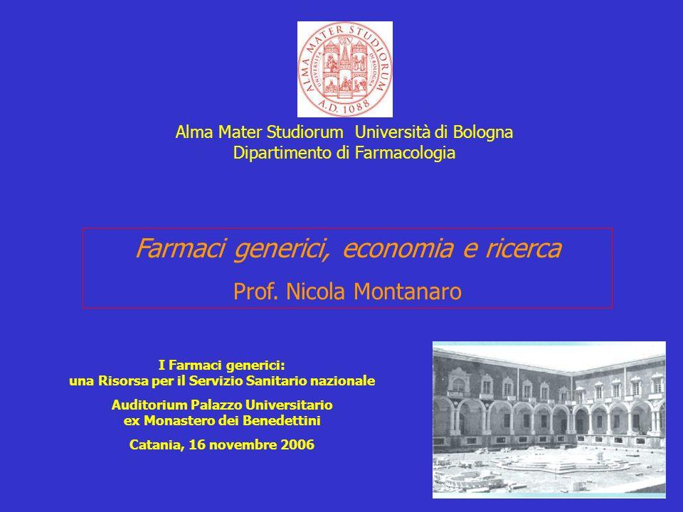 Farmaci generici, economia e ricerca Prof. Nicola Montanaro I Farmaci generici: una Risorsa per il Servizio Sanitario nazionale Auditorium Palazzo Uni