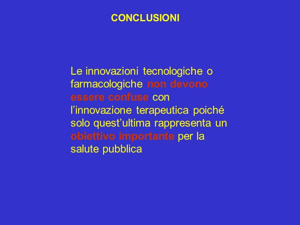 CONCLUSIONI Le innovazioni tecnologiche o farmacologiche non devono essere confuse con linnovazione terapeutica poiché solo questultima rappresenta un