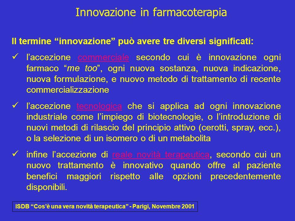 Innovazione in farmacoterapia Il termine innovazione può avere tre diversi significati: laccezione commerciale secondo cui è innovazione ogni farmaco