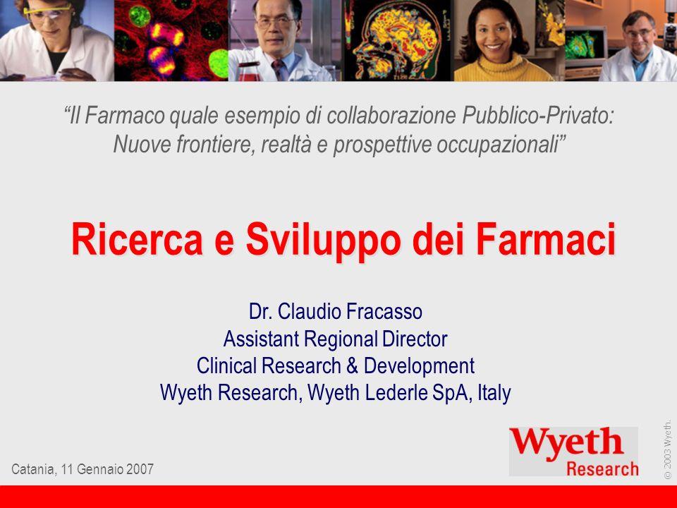 © 2003 Wyeth. Catania, 11 Gennaio 2007 Ricerca e Sviluppo dei Farmaci Il Farmaco quale esempio di collaborazione Pubblico-Privato: Nuove frontiere, re