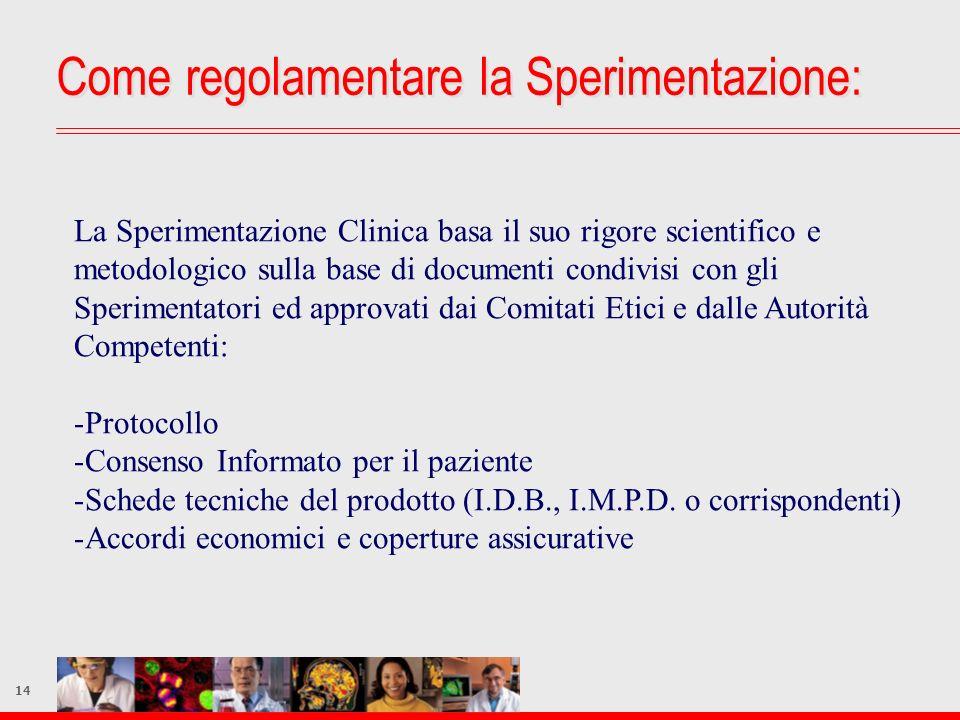 14 La Sperimentazione Clinica basa il suo rigore scientifico e metodologico sulla base di documenti condivisi con gli Sperimentatori ed approvati dai