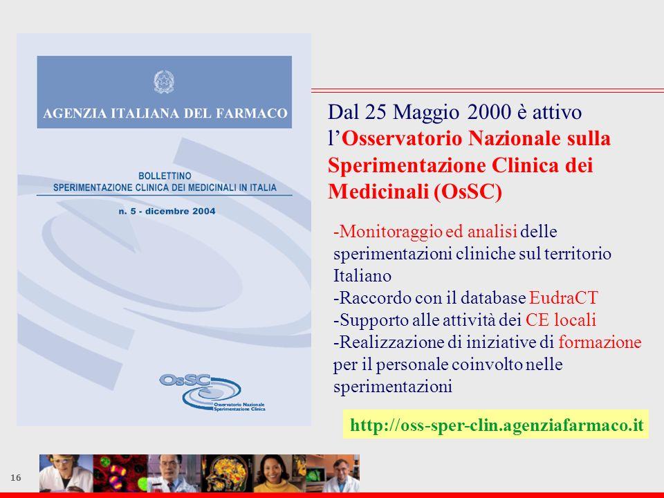 16 Dal 25 Maggio 2000 è attivo lOsservatorio Nazionale sulla Sperimentazione Clinica dei Medicinali (OsSC) -Monitoraggio ed analisi delle sperimentazi