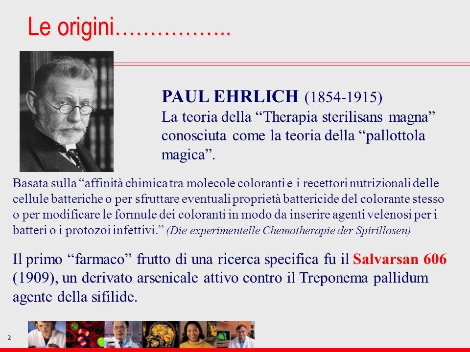 2 Le origini…………….. PAUL EHRLICH (1854-1915) La teoria della Therapia sterilisans magna conosciuta come la teoria della pallottola magica. Basata sull