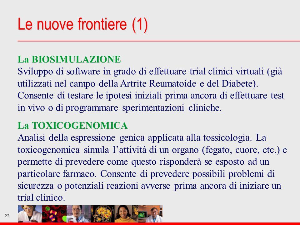 23 Le nuove frontiere (1) La BIOSIMULAZIONE Sviluppo di software in grado di effettuare trial clinici virtuali (già utilizzati nel campo della Artrite