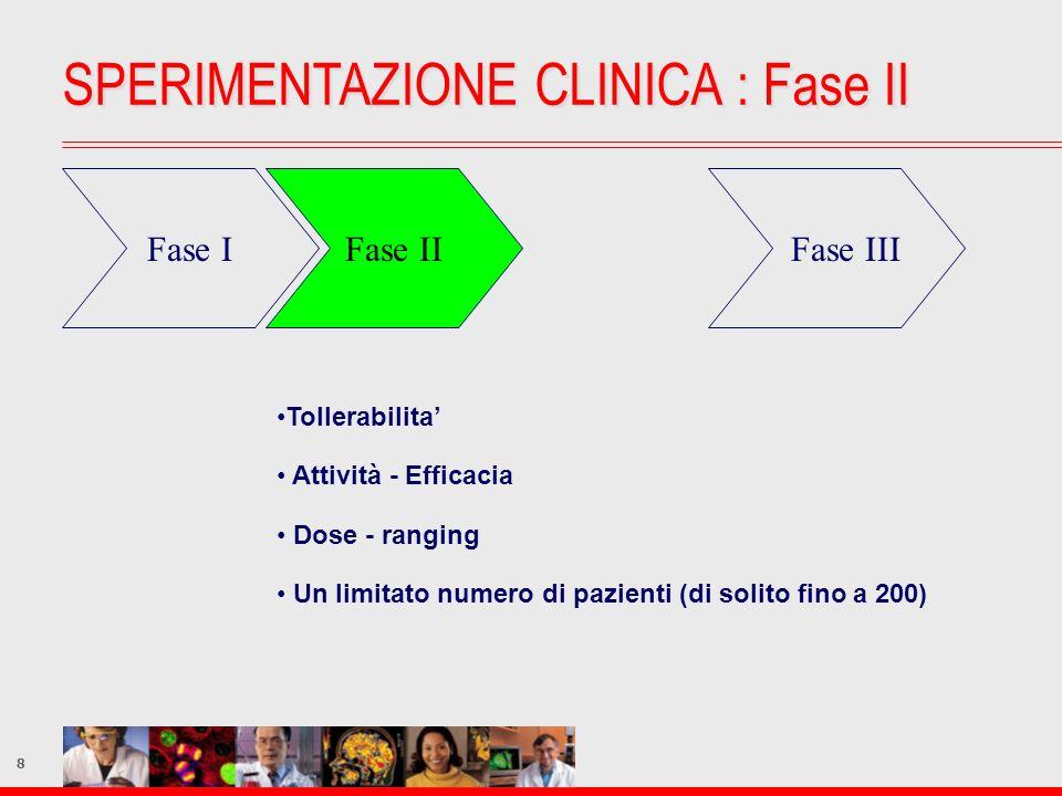 8 Fase IFase II Fase III Tollerabilita Attività - Efficacia Dose - ranging Un limitato numero di pazienti (di solito fino a 200) SPERIMENTAZIONE CLINI