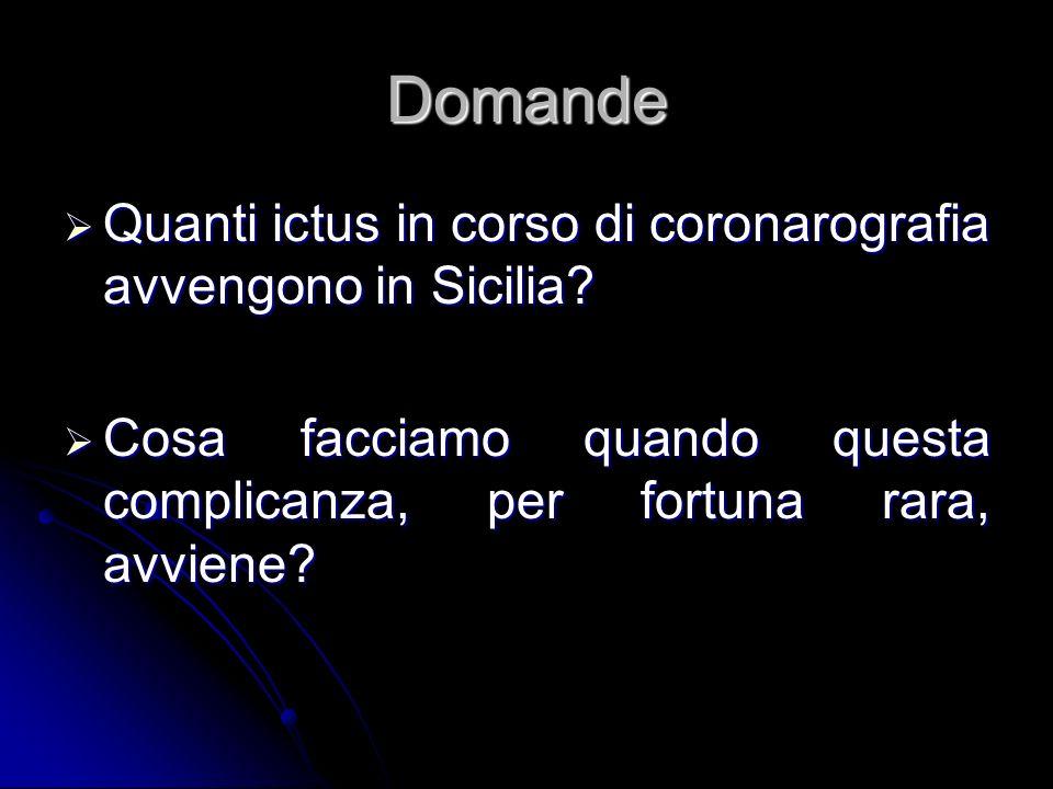 Domande Quanti ictus in corso di coronarografia avvengono in Sicilia? Cosa facciamo quando questa complicanza, per fortuna rara, avviene?