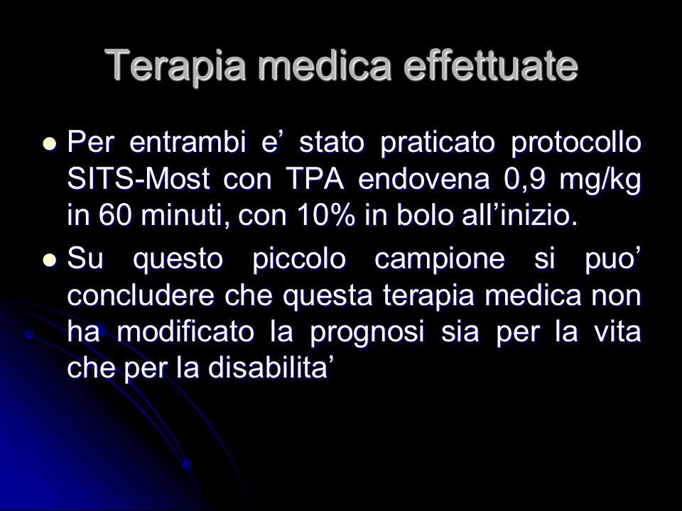 Terapia medica effettuate Per entrambi e stato praticato protocollo SITS-Most con TPA endovena 0,9 mg/kg in 60 minuti, con 10% in bolo allinizio. Per
