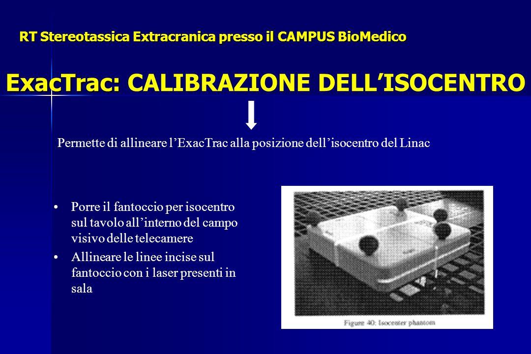 RT Stereotassica Extracranica presso il CAMPUS BioMedico Permette di allineare lExacTrac alla posizione dellisocentro del Linac Porre il fantoccio per isocentro sul tavolo allinterno del campo visivo delle telecamere Allineare le linee incise sul fantoccio con i laser presenti in sala ExacTrac: ExacTrac: CALIBRAZIONE DELLISOCENTRO