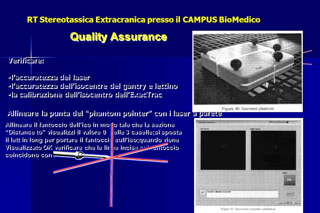 Quality Assurance Allineare la punta del phantom pointer con i laser a parete Verificare: laccuratezza dei laser laccuratezza dellisocentre del gantry e lettino la calibrazione dellisocentro dellExacTrac Verificare: laccuratezza dei laser laccuratezza dellisocentre del gantry e lettino la calibrazione dellisocentro dellExacTrac Allineare il fantoccio delliso in modo tale che la sezione Distance to visualizzi il valore 0 nelle 3 caselle;si sposta il lett in long per portare il fantoccio sulliso;quando viene Visualizzato OK verificare che le linee incise sul fantoccio coincidono con i laser a parete.