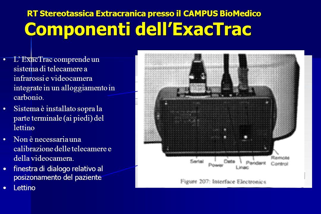 Componenti dellExacTrac L ExacTrac comprende un sistema di telecamere a infrarossi e videocamera integrate in un alloggiamento in carbonio. Sistema è