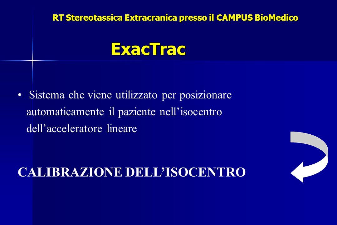 RT Stereotassica Extracranica presso il CAMPUS BioMedico Sistema che viene utilizzato per posizionare automaticamente il paziente nellisocentro dellacceleratore lineare CALIBRAZIONE DELLISOCENTRO ExacTrac