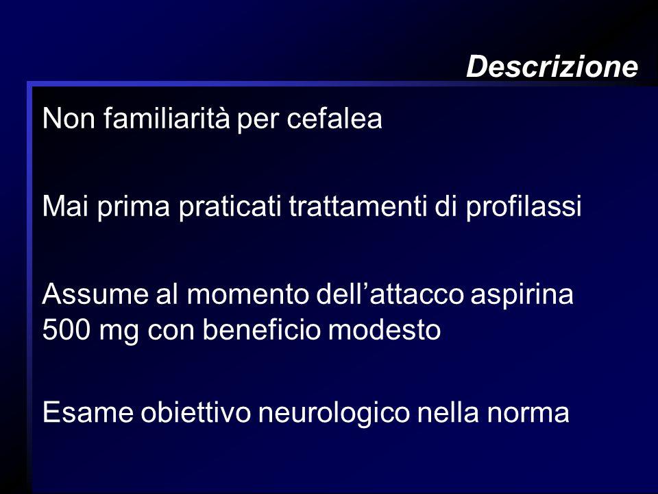 Descrizione Non familiarità per cefalea Mai prima praticati trattamenti di profilassi Assume al momento dellattacco aspirina 500 mg con beneficio mode