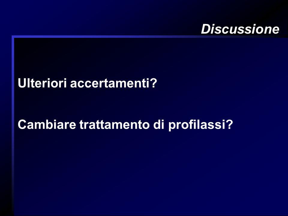Discussione Ulteriori accertamenti? Cambiare trattamento di profilassi?