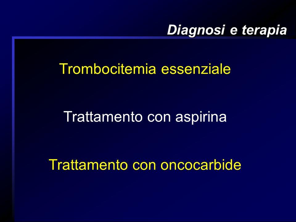 Diagnosi e terapia Trombocitemia essenziale Trattamento con aspirina Trattamento con oncocarbide