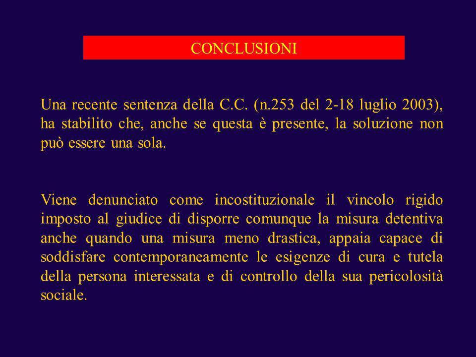 CONCLUSIONI Una recente sentenza della C.C. (n.253 del 2-18 luglio 2003), ha stabilito che, anche se questa è presente, la soluzione non può essere un