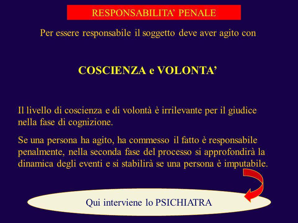 RESPONSABILITA PENALE Per essere responsabile il soggetto deve aver agito con COSCIENZA e VOLONTA Il livello di coscienza e di volontà è irrilevante p