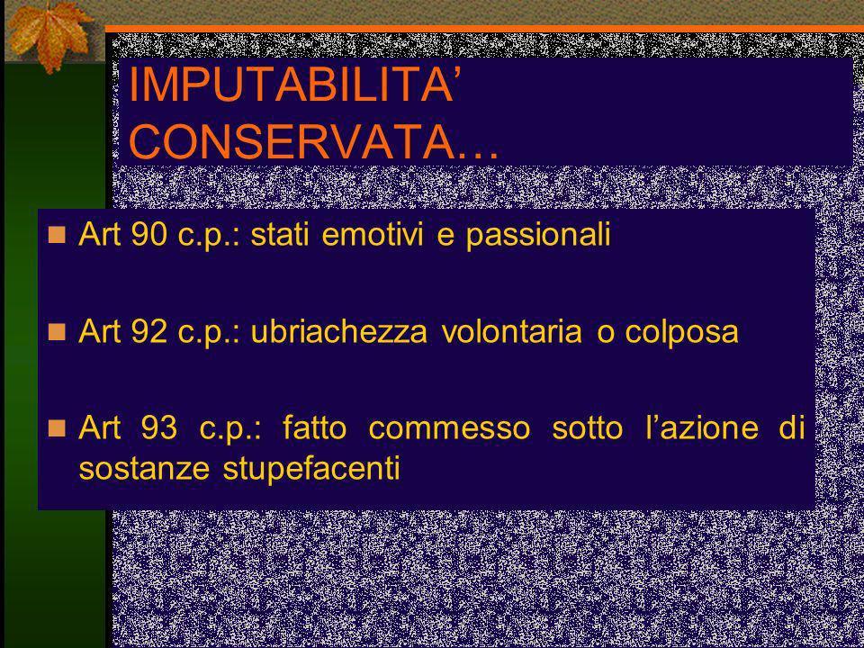 IMPUTABILITA CONSERVATA… Art 90 c.p.: stati emotivi e passionali Art 92 c.p.: ubriachezza volontaria o colposa Art 93 c.p.: fatto commesso sotto lazio