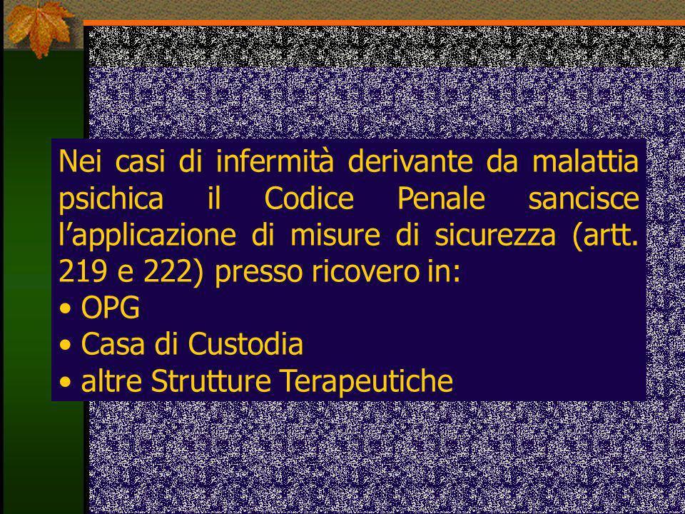 Nei casi di infermità derivante da malattia psichica il Codice Penale sancisce lapplicazione di misure di sicurezza (artt. 219 e 222) presso ricovero