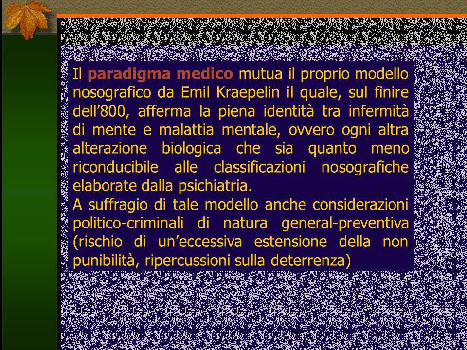 Il paradigma medico mutua il proprio modello nosografico da Emil Kraepelin il quale, sul finire dell800, afferma la piena identità tra infermità di me