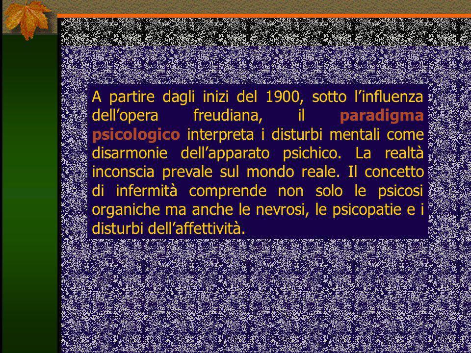 A partire dagli inizi del 1900, sotto linfluenza dellopera freudiana, il paradigma psicologico interpreta i disturbi mentali come disarmonie dellappar