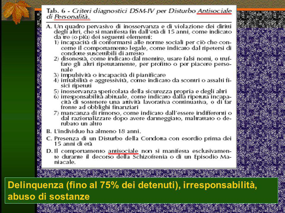 Delinquenza (fino al 75% dei detenuti), irresponsabilità, abuso di sostanze