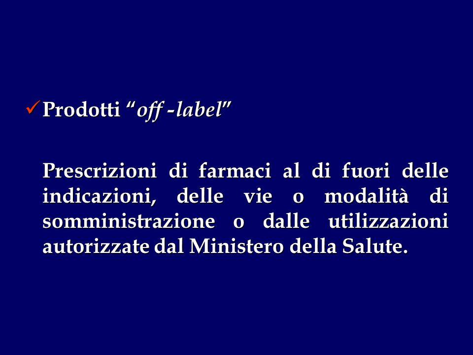 Prodotti off -label Prodotti off -label Prescrizioni di farmaci al di fuori delle indicazioni, delle vie o modalità di somministrazione o dalle utilizzazioni autorizzate dal Ministero della Salute.