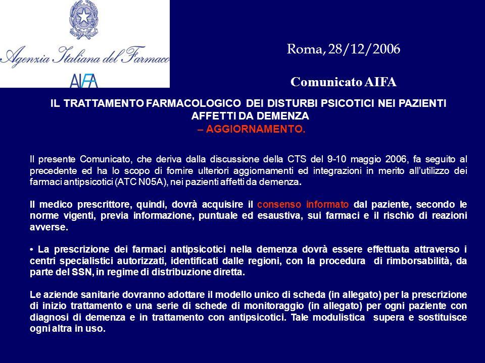 Roma, 28/12/2006 Comunicato AIFA IL TRATTAMENTO FARMACOLOGICO DEI DISTURBI PSICOTICI NEI PAZIENTI AFFETTI DA DEMENZA – AGGIORNAMENTO.