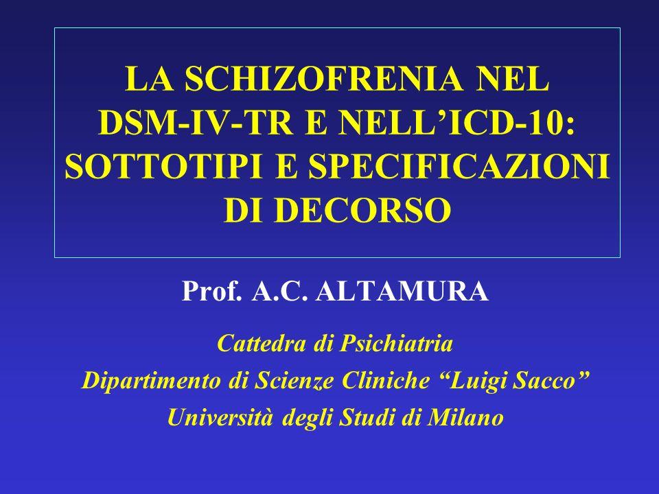 LA SCHIZOFRENIA NEL DSM-IV-TR E NELLICD-10: SOTTOTIPI E SPECIFICAZIONI DI DECORSO Prof. A.C. ALTAMURA Cattedra di Psichiatria Dipartimento di Scienze