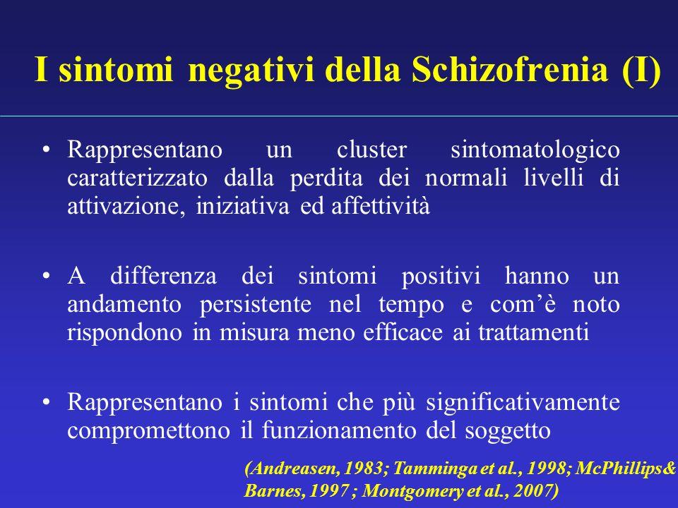 I sintomi negativi della Schizofrenia (I) Rappresentano un cluster sintomatologico caratterizzato dalla perdita dei normali livelli di attivazione, in