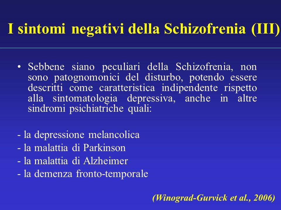 I sintomi negativi della Schizofrenia (III) Sebbene siano peculiari della Schizofrenia, non sono patognomonici del disturbo, potendo essere descritti