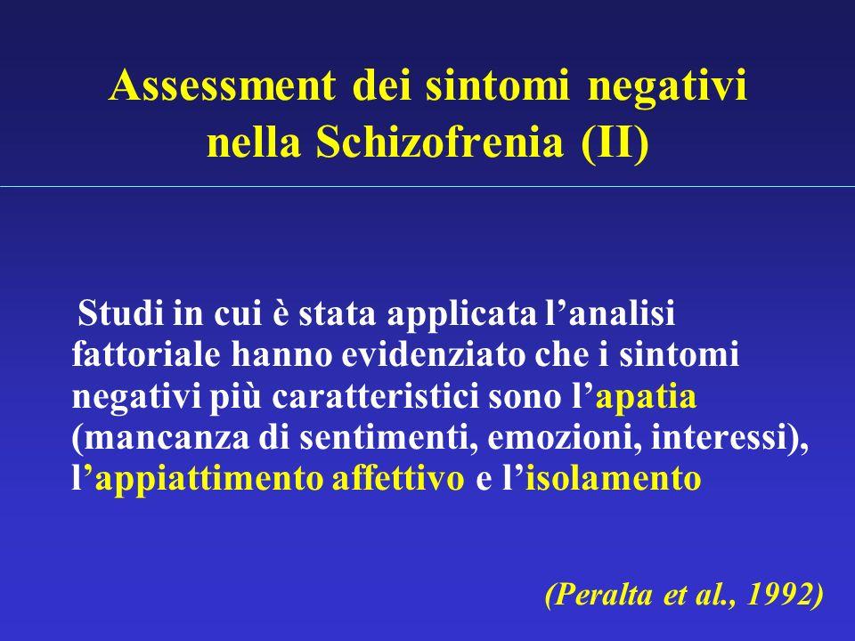 Assessment dei sintomi negativi nella Schizofrenia (II) Studi in cui è stata applicata lanalisi fattoriale hanno evidenziato che i sintomi negativi pi