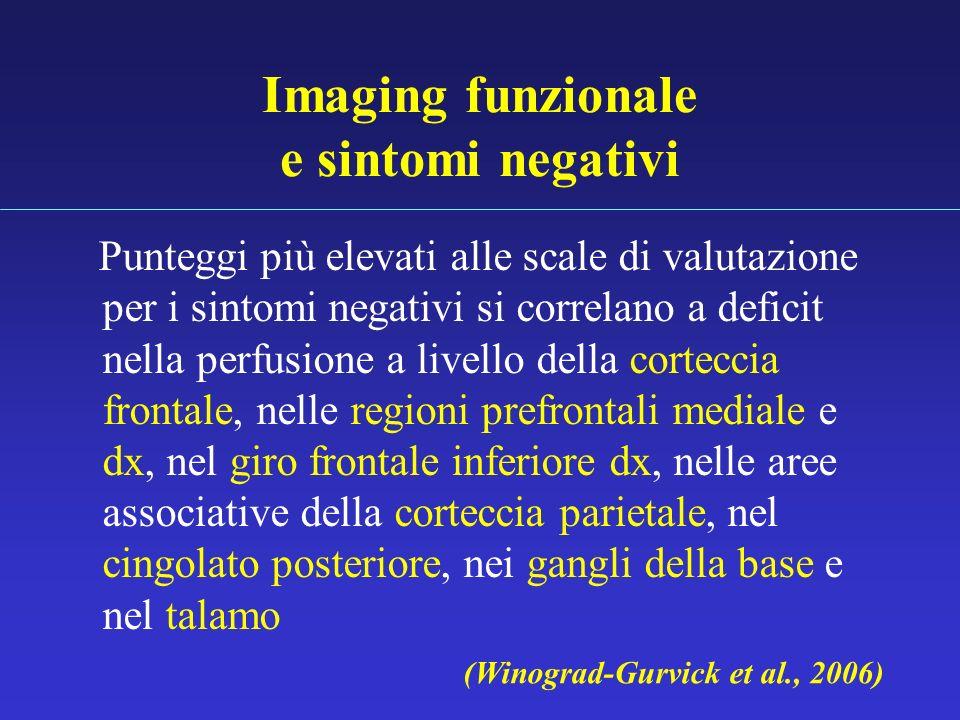 Imaging funzionale e sintomi negativi Punteggi più elevati alle scale di valutazione per i sintomi negativi si correlano a deficit nella perfusione a