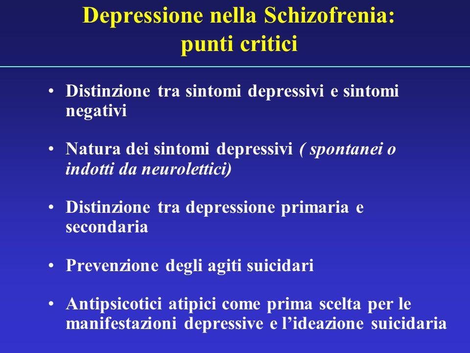 Depressione nella Schizofrenia: punti critici Distinzione tra sintomi depressivi e sintomi negativi Natura dei sintomi depressivi ( spontanei o indott