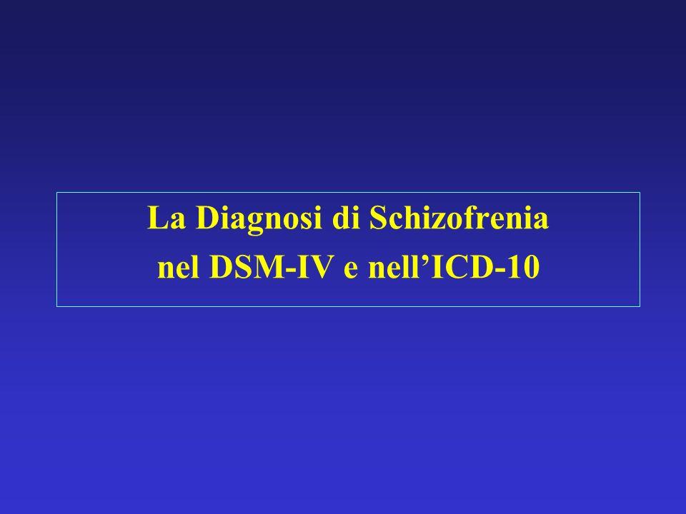 La Diagnosi di Schizofrenia nel DSM-IV e nellICD-10