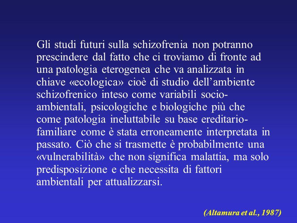 Gli studi futuri sulla schizofrenia non potranno prescindere dal fatto che ci troviamo di fronte ad una patologia eterogenea che va analizzata in chia