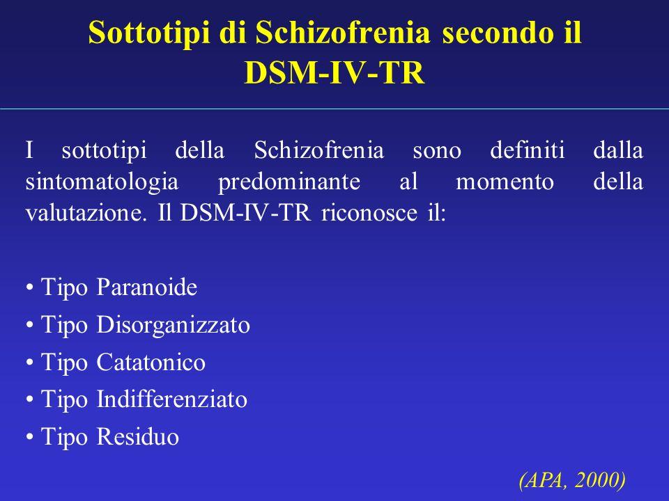 Sottotipi di Schizofrenia secondo il DSM-IV-TR I sottotipi della Schizofrenia sono definiti dalla sintomatologia predominante al momento della valutaz