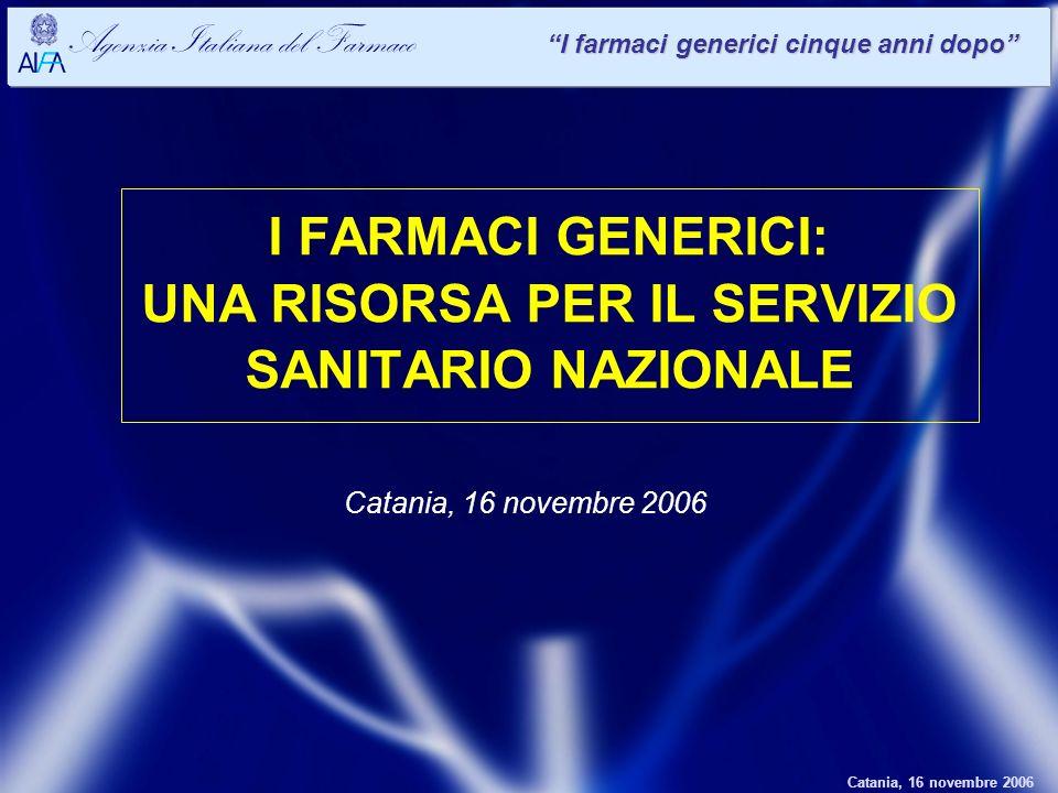 Catania, 16 novembre 2006 Agenzia Italiana del Farmaco I farmaci generici cinque anni dopo I FARMACI GENERICI: UNA RISORSA PER IL SERVIZIO SANITARIO NAZIONALE Catania, 16 novembre 2006