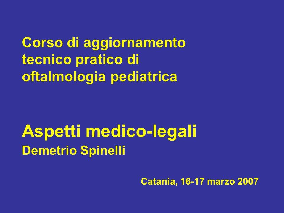 Corso di aggiornamento tecnico pratico di oftalmologia pediatrica Aspetti medico-legali Demetrio Spinelli Catania, 16-17 marzo 2007