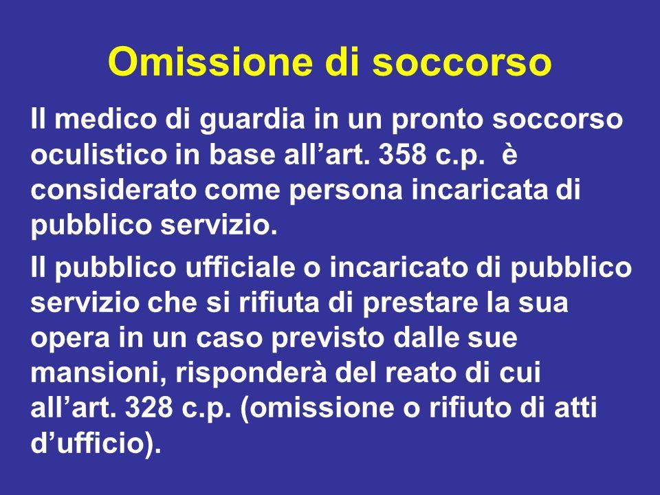 Omissione di soccorso Il medico di guardia in un pronto soccorso oculistico in base allart. 358 c.p. è considerato come persona incaricata di pubblico
