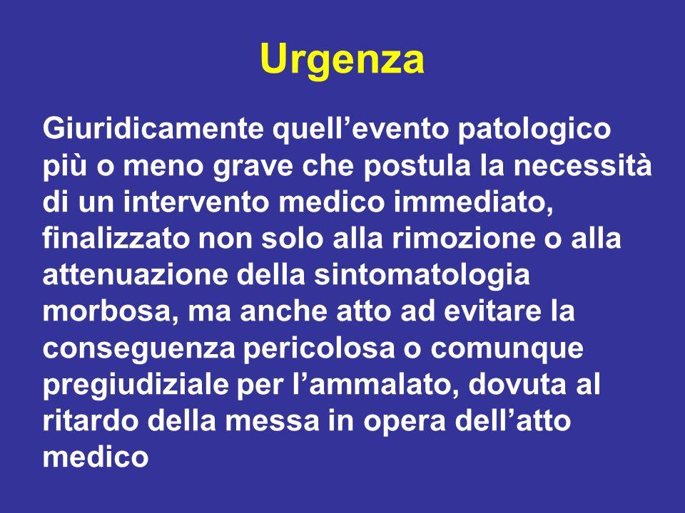 Urgenza Giuridicamente quellevento patologico più o meno grave che postula la necessità di un intervento medico immediato, finalizzato non solo alla r