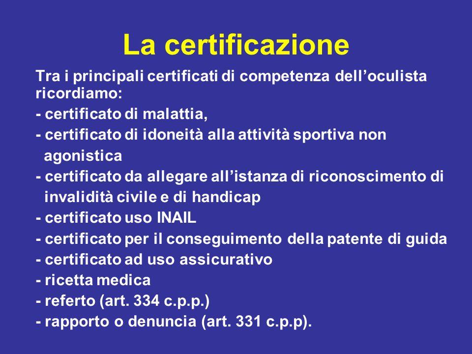 La certificazione Tra i principali certificati di competenza delloculista ricordiamo: - certificato di malattia, - certificato di idoneità alla attivi
