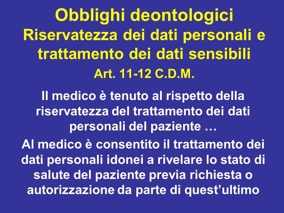 Il medico è tenuto al rispetto della riservatezza del trattamento dei dati personali del paziente … Al medico è consentito il trattamento dei dati per